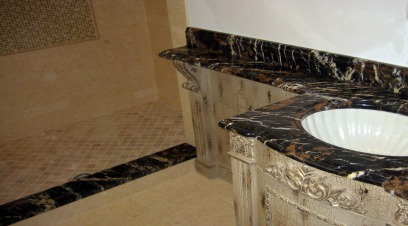 Marble countertop installed in a bathroom